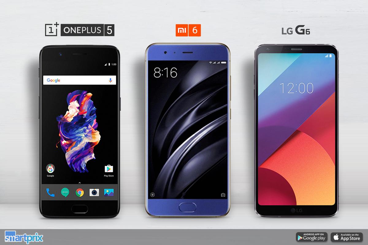 phone comparison oneplus 5 vs lg g6 vs xiaomi mi 6 smartprix blog. Black Bedroom Furniture Sets. Home Design Ideas